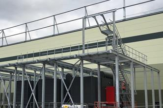 Structural support steelwork for a Data Centre c/w platforms, staircase & walkways