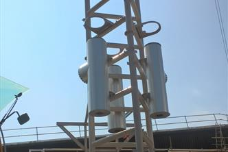 1st Section of 40m high Triangular Mast c/w stainless steel flues
